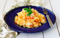 Rice with Chicken and Vegetables Stock Photography