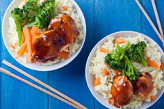 Rice Chicken And Vegetables. Thai meal of chicken and some vegetables Stock Photos