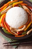 Rice with chicken and vegetables top view of the vertical Stock Photos
