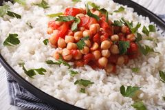 Rice with chickpeas and herbs close up horizontal Royalty Free Stock Photos