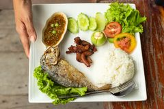 Rice, chili kumberland, ryba i wieprzowina, smażyliśmy z warzywami na whit Zdjęcia Stock