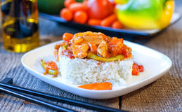 Rice with Chinese sweet and sour sauce Royalty Free Stock Photo