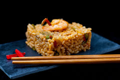 Rice and chopstick Stock Images