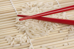 Rice and Chopsticks Stock Photo