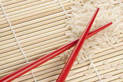 Rice and Chopsticks Stock Photography