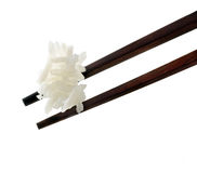 Rice on chopsticks Royalty Free Stock Photography