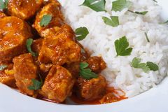 Rice and chunks of chicken curry on a plate Royalty Free Stock Photos