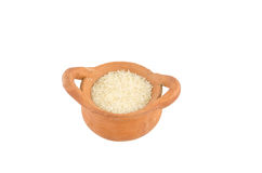 Rice in clay pot stock photography