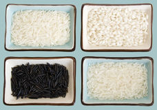 Rice with clipping path. Four little dishes full of rice (from up right clockwise: Basmati, Arborio, Carolina gold, Wild rice. It has a clipping path stock images