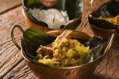 Rice with coconut, Yellow flour and  dried meat with rice in an Royalty Free Stock Photo