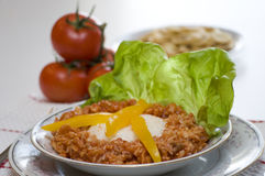 Rice and Cod: Traditional Cuban Food Stock Image