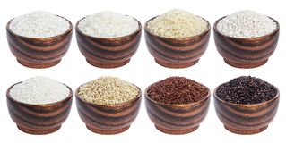 Rice collection isolated on white background.  Royalty Free Stock Photo