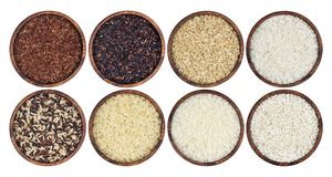 Rice collection isolated on white background. Top view Stock Image