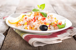 Rice with colorful vegetables Stock Image