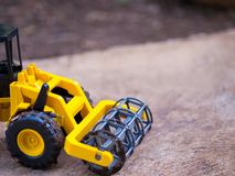 Rice combine harvester. Harvester tractor model on the ground. stock image