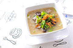 Rice congee. Mixed with meat or rice gruel with pork Stock Photos
