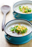 Rice congee mixed with meat Stock Photo