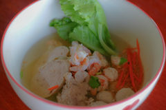 Rice congee mixed with meat. This photo are rice congee mixed with meat taken at Mom's resterant Thailand Stock Photo