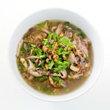 Rice congee mixed with meat or rice gruel with pork dried shrim Stock Images