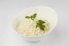 Rice. Cooked white rice decored with greens Royalty Free Stock Photo