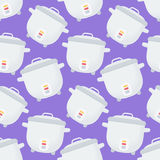 Rice cooker  seamless pattern. Flat design of kitchen utensil or cooking equipment wallpaper isolated on the purple background, cute  illustration with Royalty Free Stock Photo