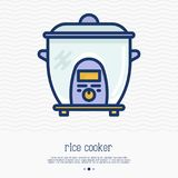 Rice cooker thin line icon. Simple vector illustration of home appliance Stock Photo