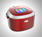 Rice cooker with touch screen which can control rice cooking mode. 3D rendering image with clipping path Stock Images