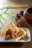 Rice Cookie. Traditional chinese rice cookie on wooden texture Stock Photography