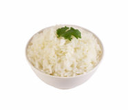 Rice with coriander. With isolated white back ground Stock Photos