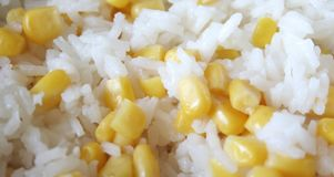 Rice with corn. Boiled rice with fresh corn Royalty Free Stock Photos