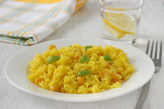 Rice with corn on plate Stock Photos
