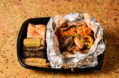 Rice cover and roasted meat. Rice cover and roasted Delicious meat Stock Images
