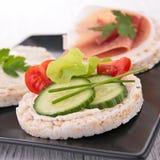 Rice cracker. And fresh cucumber stock photo