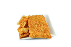 Rice cracker on plate Stock Photography