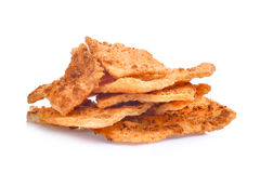 Rice cracker with pork floss isolated on white stock photos