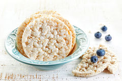 Rice crackers with blueberries Stock Image