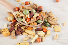Rice Crackers with Nuts Stock Photos