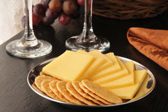 Rice crackers with smoked gouda cheese Stock Photo
