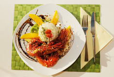 Rice, King Prawn, Rosemary and Fruit Stock Images