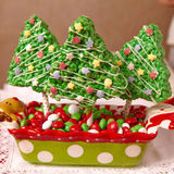 Rice crispy bars decorated for Christmas Royalty Free Stock Images