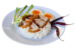Rice with crispy pork. Rice with crispy pork and boiled egg Stock Photography