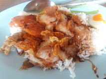 Rice crispy pork with egg. Rice crispy pork Stock Photo
