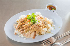 Rice with crispy pork Royalty Free Stock Image