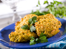Rice croquette. With parsley on dish Royalty Free Stock Photo