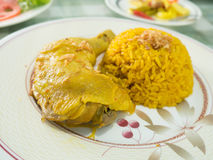 Rice with curried chicken Stock Photo