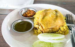Rice curried chicken biryani with sauce sweet and sour Royalty Free Stock Images