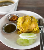 Rice curried chicken biryani with sauce sweet and sour Royalty Free Stock Photography