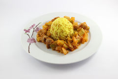 Rice with curry and baked zucchini with beef Stock Image