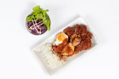Rice with deep fried chicken, boiled halves eggs topped  Japanese yellow curry . Top view Royalty Free Stock Photos
