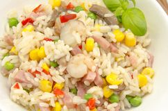 Rice. Delicious fried rice stew served on a plate Royalty Free Stock Photo